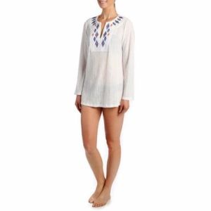 XL Arctic White Catalina Embroidered Tunic